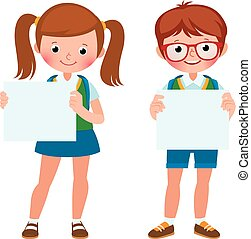 Vector cartoon illustration of two student girl and boy are holding empty blank