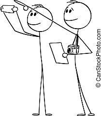 Vector Cartoon Illustration of Two Tourists With Cameras Looking and Pointing at Historic Sight or Building and Reading Information in Paper, Brochure or Booklet