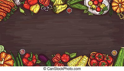 Vector cartoon illustration of various vegetables on a wooden background.