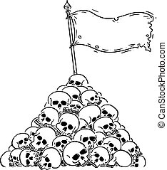 Vector cartoon illustration of surrender or victory flag waving on heap or pile of human skulls. Concept of violence, victory, defeat, epidemic, war or death.