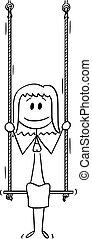 Vector Cartoon Illustration of Woman or Businesswoman Sitting on Swing