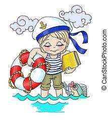 .Vector cartoon illustration relaxation the sea, boy-...