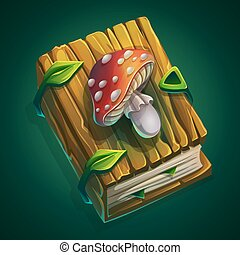 Vector cartoon illustration thick book with a cover wooden