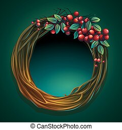 Vector cartoon illustration wreath of vines with ashberry -...