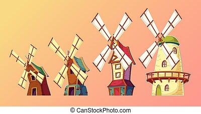 Vector cartoon illustrations of traditional old windmills.