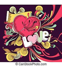 Vector cartoon illustrtion with heart and splashes