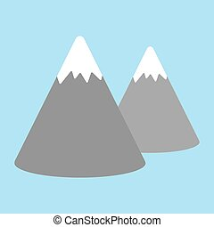 Vector cartoon image of bright orange mountain with two peaks on a blue background.