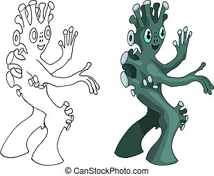 Vector cartoon image of funny alien positive character creature isolated