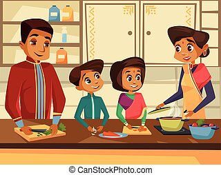 Vector cartoon indian family at kitchen concept