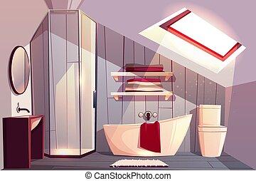 Vector cartoon interior of bathroom in attic.