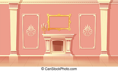 Vector cartoon interior of living room with fireplace