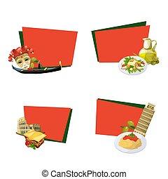 Vector cartoon italian cuisine elements stickers isolated