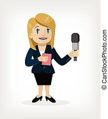 Vector cartoon journalist