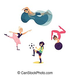 vector cartoon kids doing sports set