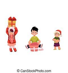 vector cartoon kids with present gift set