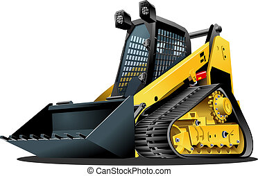 Vector Cartoon Mulcher Tractor. Available EPS-10 vector format separated by groups for easy edit