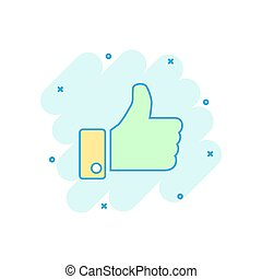 Vector cartoon like icon in comic style. Thumb up sign illustration pictogram. Like business splash effect concept.