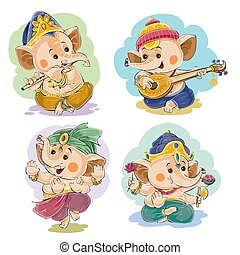 Vector cartoon little baby Ganesha, indian god