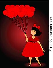 cartoon little girl with balloons