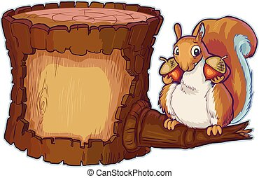 Vector Cartoon Log with Squirrel Holding Two Acorn Nuts