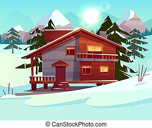 Vector cartoon luxury hotel, chalet. Winter resort