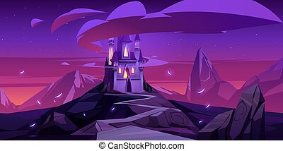 Vector cartoon magic castle in mountains at night
