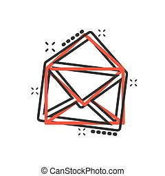 Vector cartoon mail envelope icon in comic style. Email sign illustration pictogram. Mail business splash effect concept.