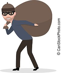 Vector cartoon male thief carrying bag with a loot