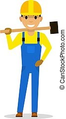 Vector cartoon man builder with a sledgehammer
