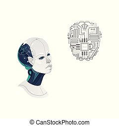 vector cartoon man cyborg head, microchip icon