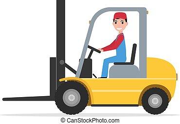 Vector cartoon man driving small yellow autoloader
