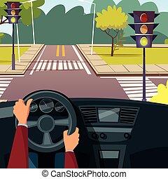 Vector cartoon man hands on car wheel