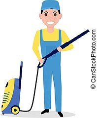 Vector cartoon man holding a high pressure washer - Vector...