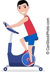 Vector cartoon man on Stationary exercise bike