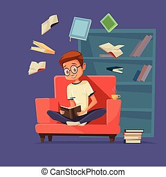 Vector cartoon man student reading books