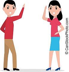 Vector cartoon man woman quarrel, couple angry