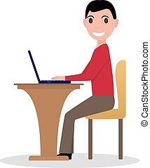 Vector cartoon man working at laptop
