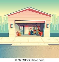 Vector cartoon mechanic workshop, fitting, repair garage