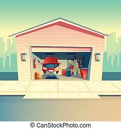 Vector cartoon mechanic workshop with car, garage