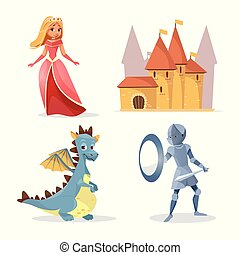 Vector cartoon medieval fairy tale characters set