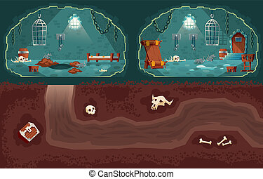 Vector cartoon medieval prison, underground passage for escape
