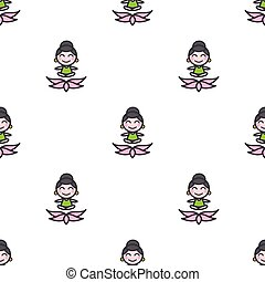 Vector cartoon meditating yoga girl seamless pattern