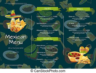 Vector cartoon mexican food cafe or restaurant menu template illustration