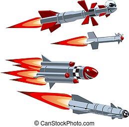 Cartoon military missile set - Vector Cartoon military...