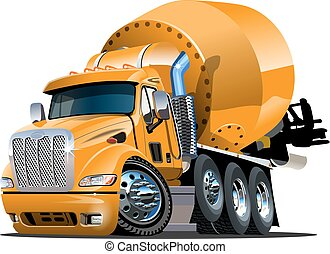 Cartoon Mixer Truck - Vector Cartoon Mixer Truck Available...