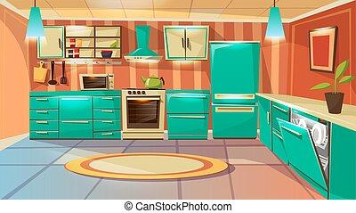 Vector cartoon modern kitchen interior background