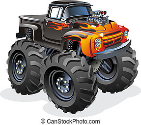 Vector Cartoon Monster Truck. Available EPS-10, AI-10, CDR-12 and SVG vector formats separated by groups and layers for easy edit