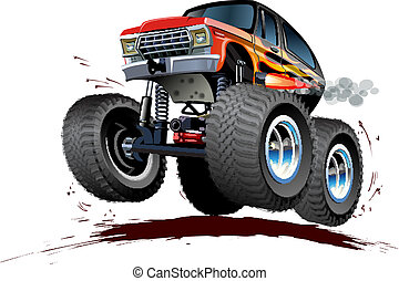 Vector Cartoon Monster Truck. Available EPS-10 vector format separated by groups and layers for easy edit