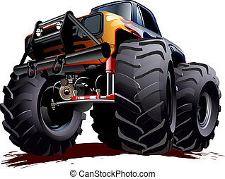 Vector Cartoon Monster Truck. Available EPS-10 vector format separated by groups and layers with transparency effects for one-click repaint