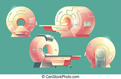 Vector cartoon MRI scanner, magnetic resonance imaging